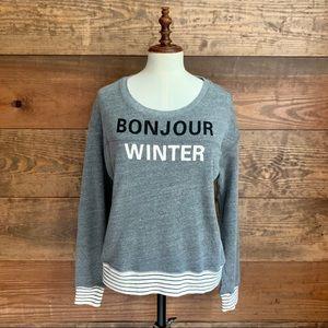 "Sundry ""Bonjour Winter"" Gray Sweatshirt"